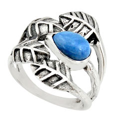 925 silver 2.10cts natural blue owyhee opal solitaire leaf ring size 7.5 r37079