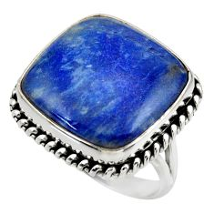 925 silver 17.64cts natural blue quartz palm stone solitaire ring size 8 r28620