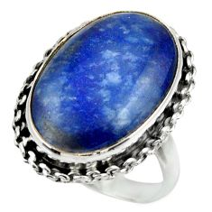 925 silver 16.21cts natural blue quartz palm stone solitaire ring size 9 r28616