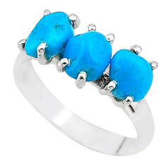 925 silver 7.97cts natural blue raw turquoise rough ring size 8 t15015