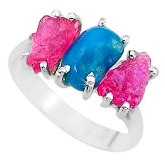 925 silver 8.73cts natural blue raw turquoise ruby rough ring size 8 t15037