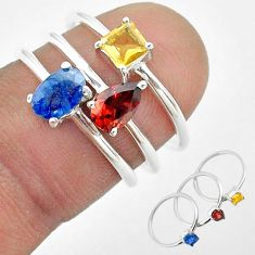 925 silver 2.82cts natural blue sapphire citrine garnet 3 rings size 6 t50909