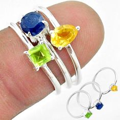 925 silver 2.98cts natural blue sapphire citrine peridot 3 rings size 6 t50914