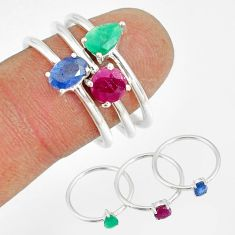 925 silver 2.58cts natural blue sapphire emerald ruby 3 rings size 7 t17603