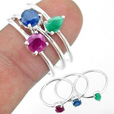 925 silver 3.28cts natural blue sapphire emerald ruby 3 rings size 8 t50967