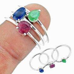 925 silver 2.70cts natural blue sapphire emerald ruby 3 rings size 8 t50978