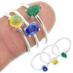 925 silver 2.98cts natural blue sapphire ethiopian opal 3 rings size 6 t17596