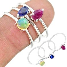 925 silver 2.53cts natural blue sapphire ethiopian opal 3 rings size 7 t17584