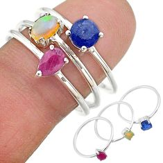 925 silver 2.82cts natural blue sapphire ethiopian opal 3 rings size 8.5 t17588