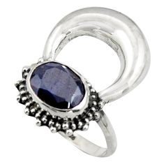 925 silver 2.90cts natural blue sapphire half moon ring jewelry size 7 r41629
