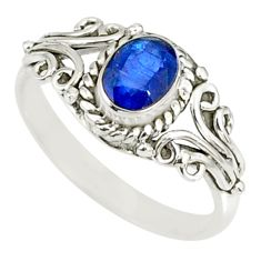 925 silver 1.43cts natural blue sapphire oval shape solitaire ring size 8 r82439