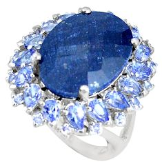 925 silver 15.72cts natural blue sapphire oval tanzanite ring size 5.5 c20620