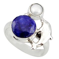 925 silver 6.03cts natural blue sapphire pearl dolphin ring size 6.5 d46133