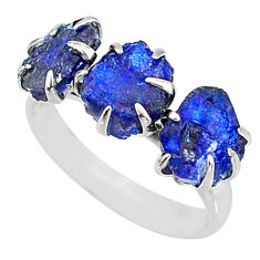 925 silver 9.37cts natural blue sapphire raw 3 stone ring size 8 t7084