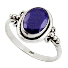 925 silver 3.29cts natural blue sapphire solitaire ring jewelry size 8.5 r41369