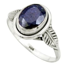 925 silver 3.00cts natural blue sapphire solitaire ring jewelry size 8.5 r41512