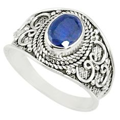 925 silver 2.13cts natural blue sapphire solitaire ring jewelry size 8.5 r69124