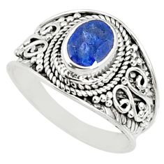 925 silver 2.13cts natural blue sapphire solitaire ring jewelry size 7.5 r69131