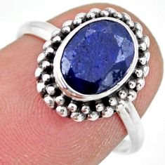 925 silver 3.06cts natural blue sapphire solitaire ring jewelry size 7 r41393