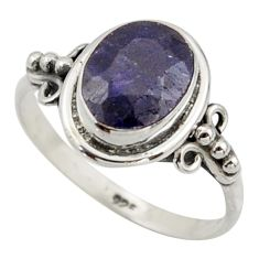 925 silver 3.29cts natural blue sapphire solitaire ring jewelry size 7 r41585