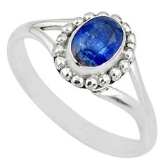 925 silver 1.56cts natural blue sapphire solitaire handmade ring size 7 r82194