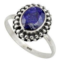 925 silver 3.05cts natural blue sapphire solitaire ring jewelry size 8 r41574
