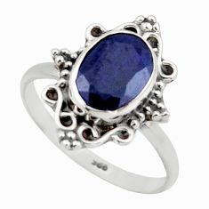 925 silver 3.05cts natural blue sapphire solitaire ring jewelry size 9 r41485