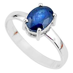 925 silver 2.14cts natural blue sapphire solitaire handmade ring size 7.5 t7288