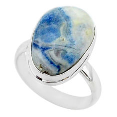 925 silver 10.37cts natural blue scheelite oval solitaire ring size 8.5 r95735