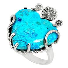 925 silver 14.23cts natural blue shattuckite heart solitaire ring size 7 r67524