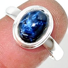 925 silver 4.27cts natural blue star sapphire oval solitaire ring size 7 r34850