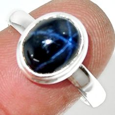 925 silver 4.51cts natural blue star sapphire oval solitaire ring size 8 r34872