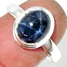 925 silver 4.51cts natural blue star sapphire oval solitaire ring size 8 r34879