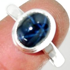 925 silver 4.52cts natural blue star sapphire solitaire ring size 8.5 r34869
