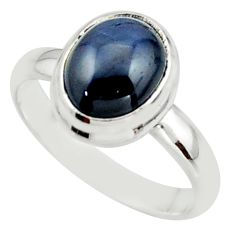 925 silver 4.07cts natural blue star sapphire solitaire ring size 6.5 r41744