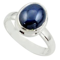 925 silver 3.93cts natural blue star sapphire solitaire ring size 5.5 r41750
