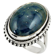 925 silver 15.17cts natural blue swedish slag oval solitaire ring size 8 r28556