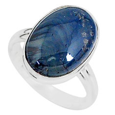 925 silver 9.16cts natural blue swedish slag oval solitaire ring size 8 r95560