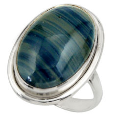 925 silver 15.95cts natural blue swedish slag oval solitaire ring size 9 r28533