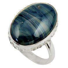 925 silver 14.33cts natural blue swedish slag oval solitaire ring size 9 r28539
