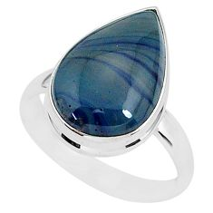 925 silver 9.31cts natural blue swedish slag pear solitaire ring size 10 r95578