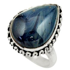 925 silver 12.26cts natural blue swedish slag pear solitaire ring size 7 r28529