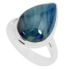 925 silver 7.02cts natural blue swedish slag pear solitaire ring size 7 r95580