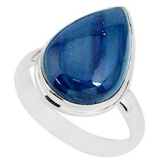 925 silver 9.52cts natural blue swedish slag pear solitaire ring size 9 r95558