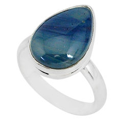 925 silver 8.28cts natural blue swedish slag pear solitaire ring size 9 r95569
