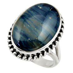 925 silver 15.36cts natural blue swedish slag solitaire ring size 8.5 r28525