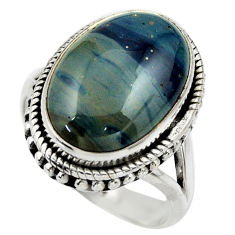 925 silver 13.28cts natural blue swedish slag solitaire ring size 8.5 r28544