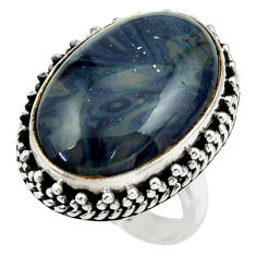 925 silver 14.83cts natural blue swedish slag solitaire ring size 6.5 r28548