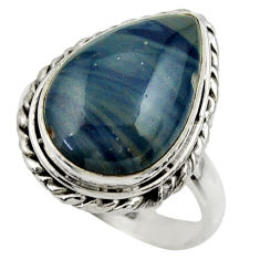 925 silver 10.73cts natural blue swedish slag solitaire ring size 8.5 r28559