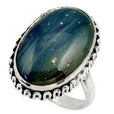 925 silver 15.23cts natural blue swedish slag solitaire ring size 8.5 r28674